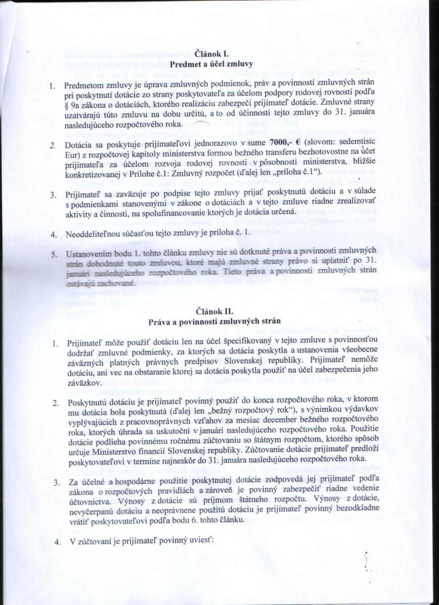 Zmluva o poskytnutí dotácie k žiadosti č. 117/2014